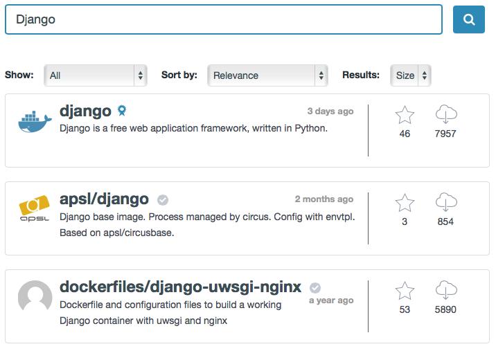 Docker Hub search results