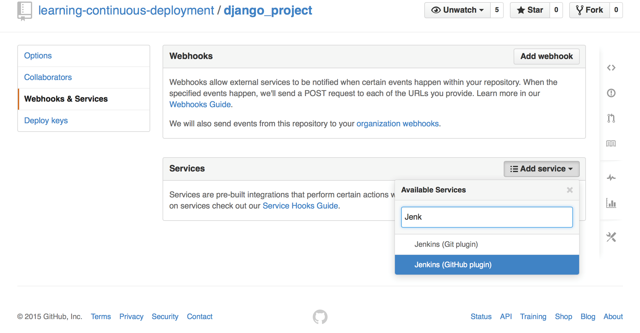 Adding a service to the GitHub project