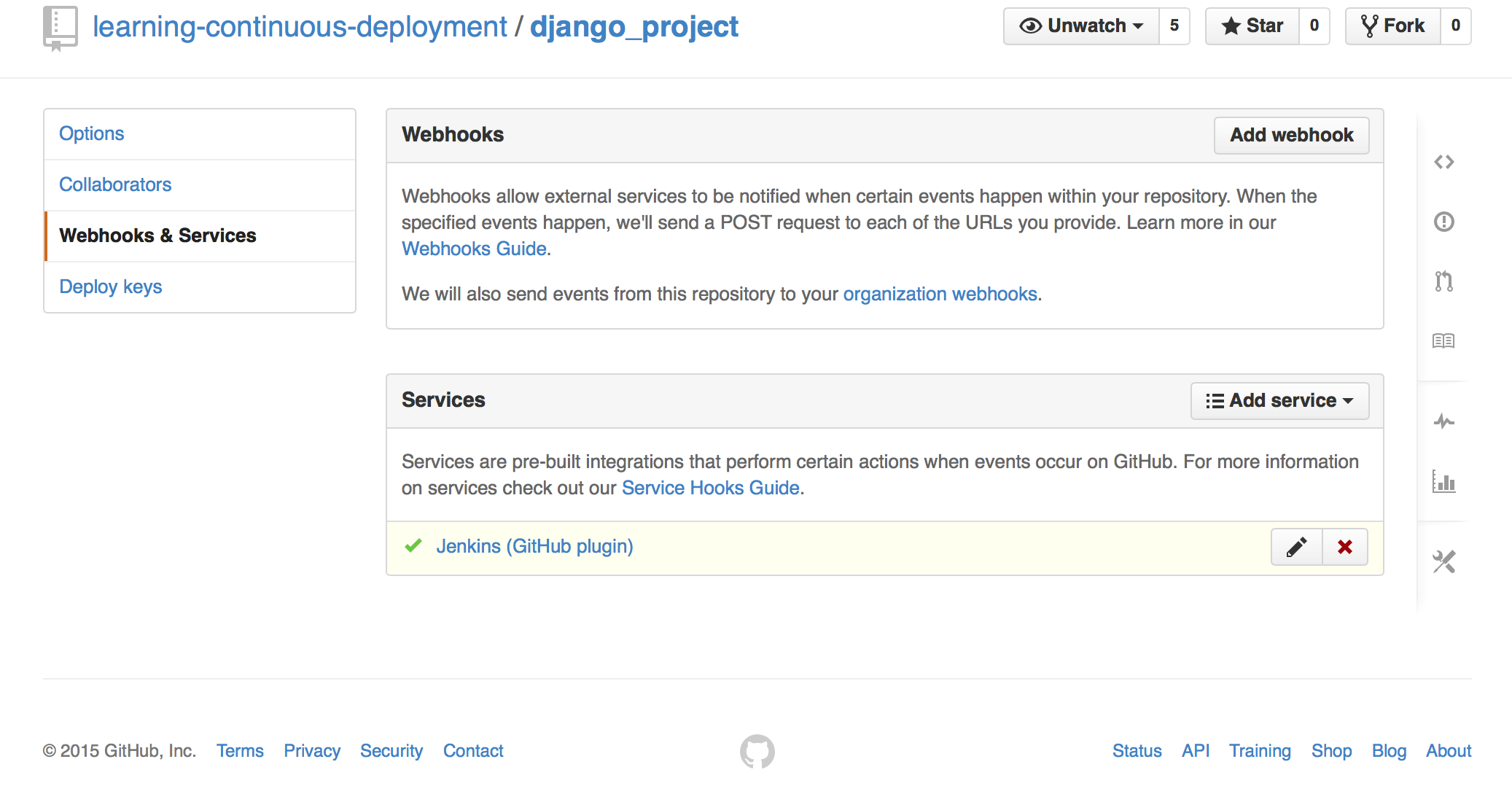 Successfully configured GitHub service